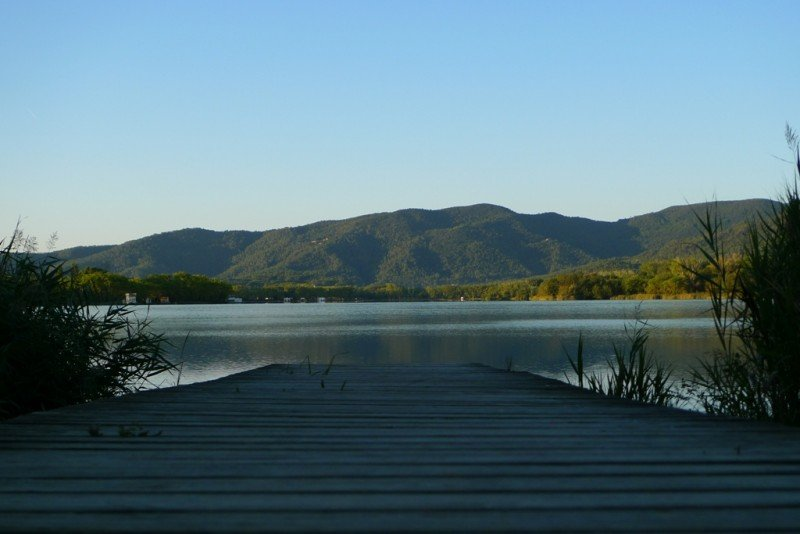 A view of Banyoles lake along a jetty